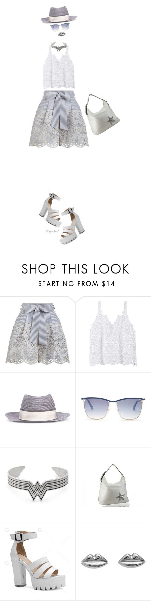 """""""Invisible Dolls in Shorts"""" by ragnh-mjos ❤ liked on Polyvore featuring Zimmermann, Maison Michel, Balmain, Alex and Ani and Kozminka"""