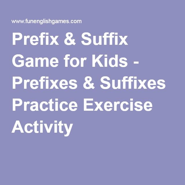 Prefix & Suffix Game for Kids - Prefixes & Suffixes Practice Exercise Activity