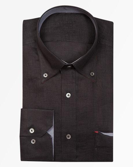 Yaka Düğmeli Siyah Keten Gömlek / Button Down Collar Black Linen Shirt http://www.bisse.com/p-904-yaka-dmel-syah-keten-gmlek.aspx