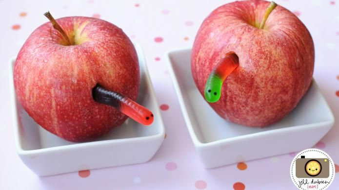 """How cute is this for snack time for the kids? Apples with """"worms"""""""