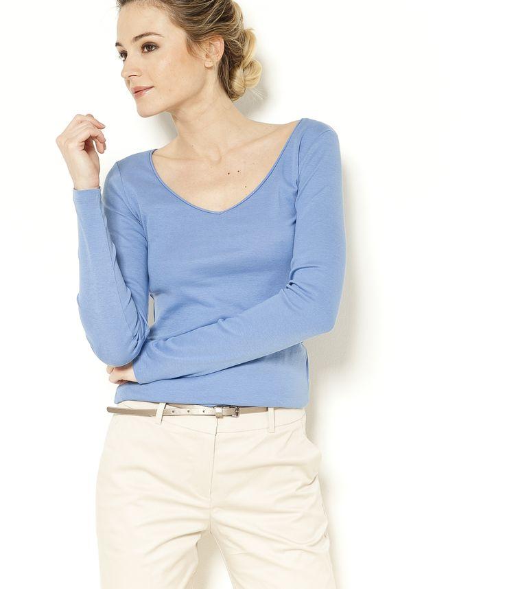 T-shirt manches longues col V bleu ciel Camaïeu 2017
