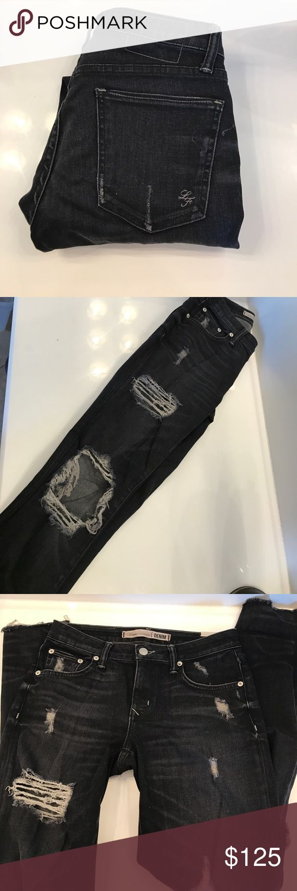 Lovers and friends ripped skinny jeans Worn twice. Excellent condition. Super distressed. Raw hem Lovers + Friends Jeans Skinny
