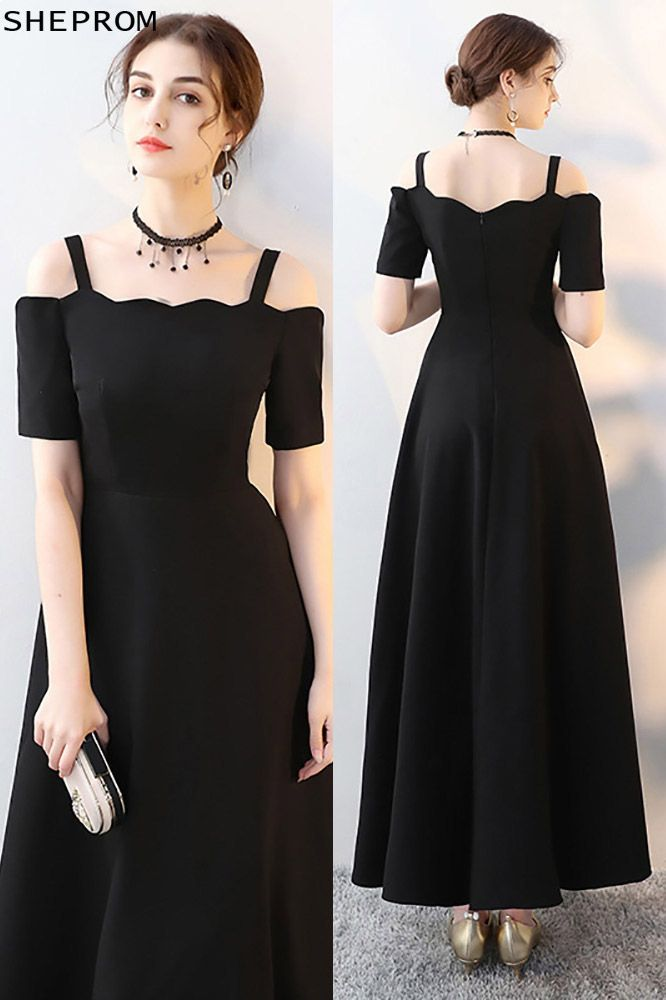 5da0c6152 Simple Maxi Long Black Formal Dress with Cold Shoulder -  84.6 ...