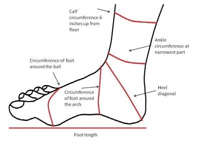 foot_measurements , WHAT THIS MEANS FOR SOCK KNITTERS  Rather remarkably, you can guess the rest of the foot measurements based on one: as long as you have foot length, ankle circumference or foot circumference you're good.