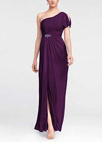 Astunning and romantic look, your bridesmaids will love to wear again!  Asymmetrical neckline and one shoulder bodicefeatures cold shoulder detail.  Adorned with beaded detail at waist.  Floor length mesh skirt with side slit is ultra-feminine and chic.  Fully lined. Imported polyester. Back zip. Dry clean only.