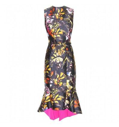 Buntes Kleid aus Seide und Baumwolle mit Blumenprint By Oscar de la Renta
