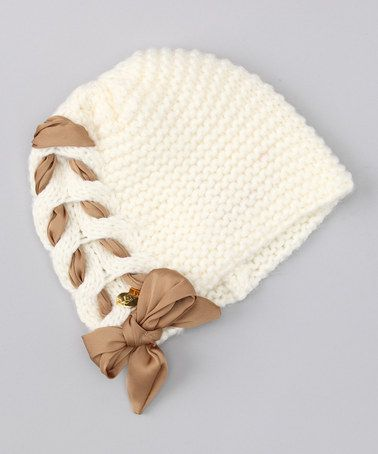 Cream Lace-Up Beanie by Betsey Johnson on #zulily today!      ♪ ♪ ... #inspiration_crochet #diy GB http://www.pinterest.com/gigibrazil/boards/: