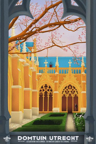 Travelposter of the city of Utrecht, the Netherlands - Domtuin -