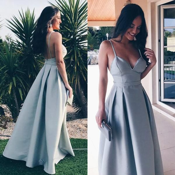 2bf2cd2d775 A-Line Spaghetti Straps Floor-Length Grey Satin Backless Long Prom Dress