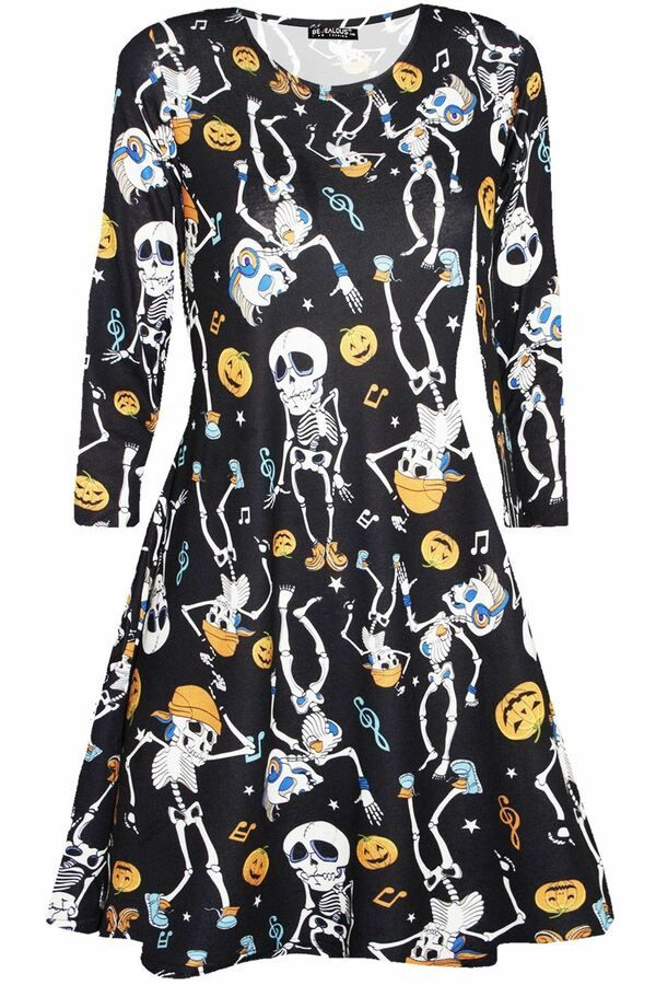 b6e6f3dae9f9 New Womens Ladies Skull Ghost Moon Printed Fancy Party Skater