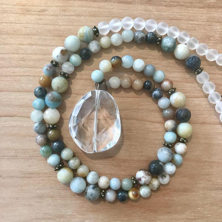 A personal favorite from my Etsy shop https://www.etsy.com/ca/listing/511302550/amazonite-clear-quartz-mala