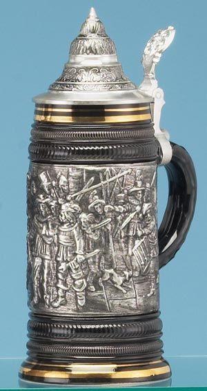 NIGHT WATCH STEIN - Traditional Stoneware & Pewter Beer Steins -
