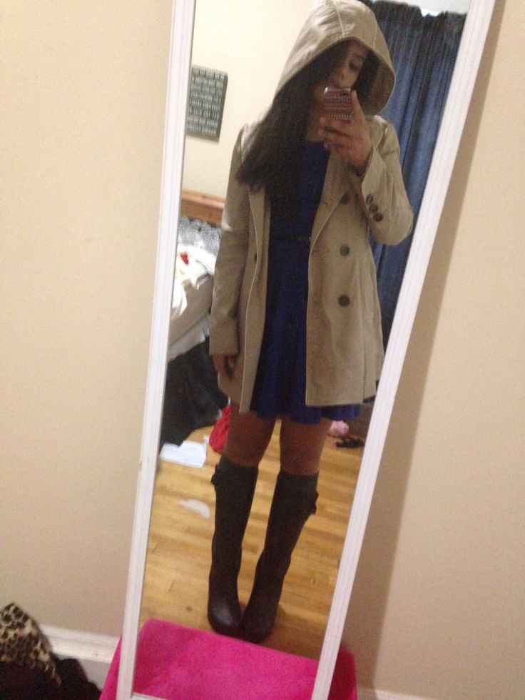 Cute rainy day outfit with black rain boots, a blue dress ...
