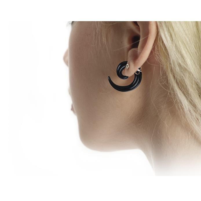 Spirali dilatanti nere di #Wildcat. Dilata in autonomia il tuo foro all'orecchio! Il set include 3 spirali da 6, 8, 10 mm.