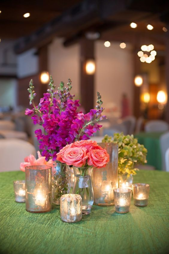 vintage fuchsia and coral pink wedding centerpiece / http://www.deerpearlflowers.com/fuchsia-hot-pink-wedding-color-ideas/