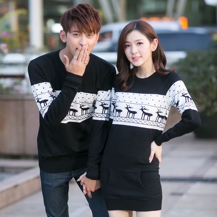 2017 Christmas Costumes Winter Men's Women O-neck Long Sleeve Sweaters and Pullovers Matching Deer Couple Christmas Sweaters #Affiliate