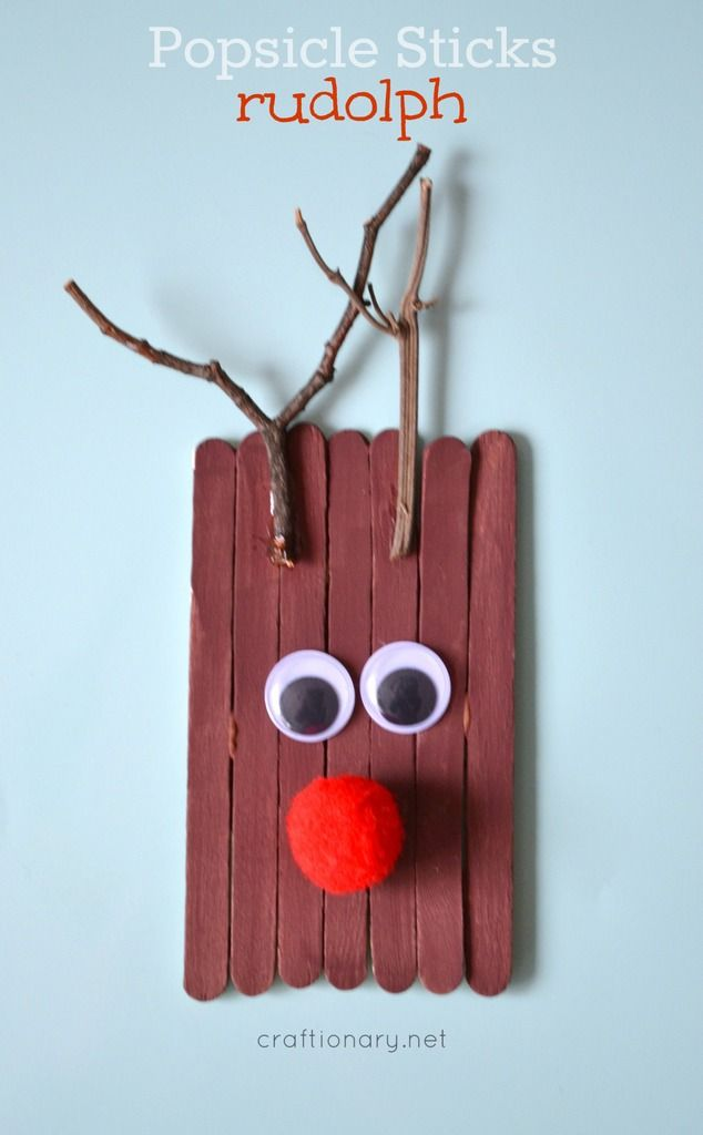 Popsicle stick Rudolph at craftionary.net