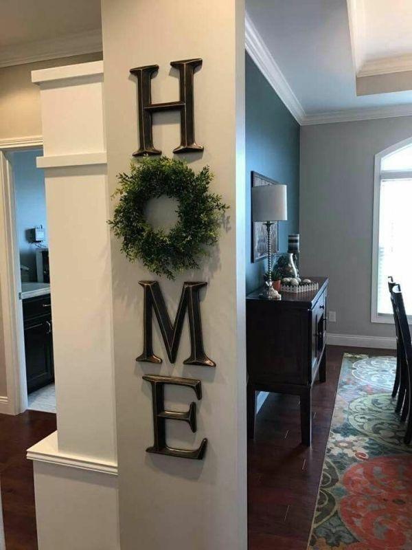 home decor, letter decor, H O M E , use a wreath as the O, diy, decor, signs, lo…