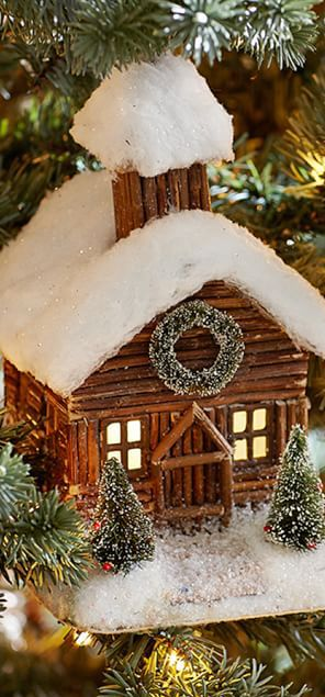 "Log Cabin Ornament.  I'd love to make some slightly larger ones and have a ""log cabin village"" atop my mantle."