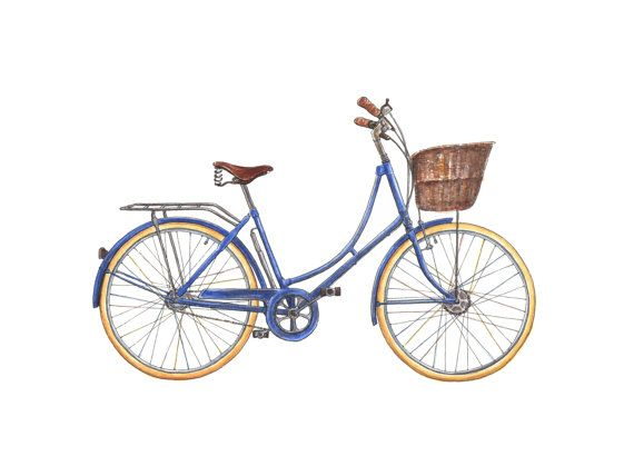 Blue Dutch Bicycle 9x12 Limited Edition Watercolour by gotamago