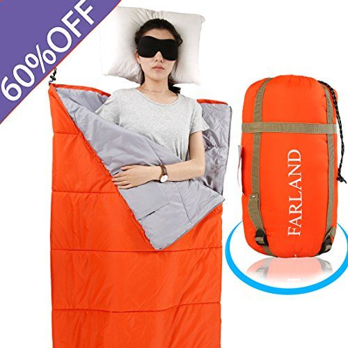 FARLAND Lightweight Sleeping Bag& Portable Waterproof Envelope Bag With Compression Sack -Perfect For Summer Traveling, Camping, Hiking,Outdoor Activities(Mandarin Red / Left Zip). For product info go to:  https://all4hiking.com/products/farland-lightweight-sleeping-bag-portable-waterproof-envelope-bag-with-compression-sack-perfect-for-summer-traveling-camping-hikingoutdoor-activities-mandarin-red-left-zip/
