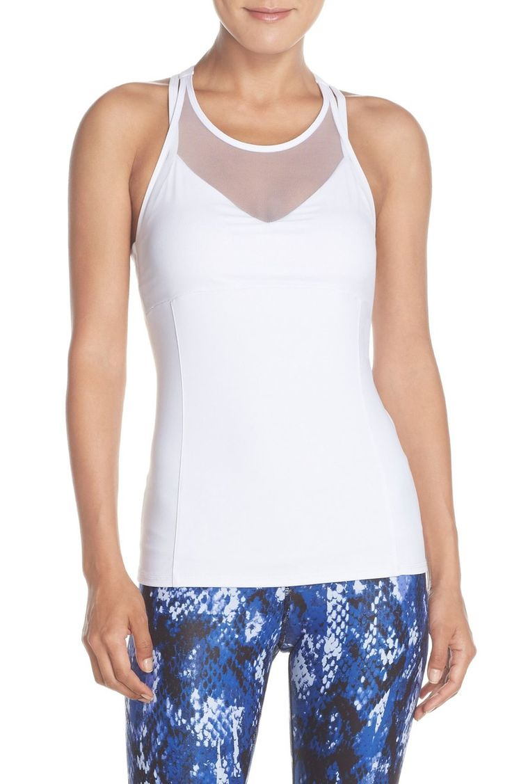 Alo 'Carmen' Tank with Bra, - White A built-in shelf bra makes this mod,  mesh-inlaid tank all the more supportive during yoga poses. Color(s):  black, white.
