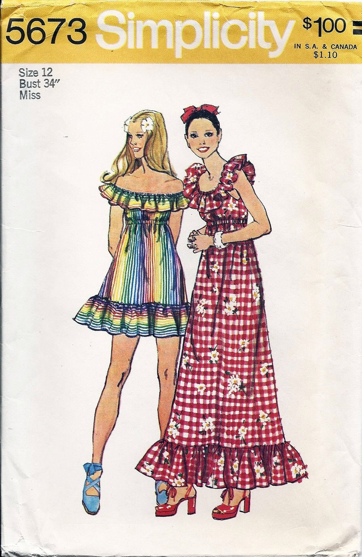 70s Boho Peasant Dress Pattern Simplicity 5673 UNCUT Misses Size 12 Bust 34 Factory Folded Vintage Sewing Pattern Original Not a Repro. $14.00, via Etsy.