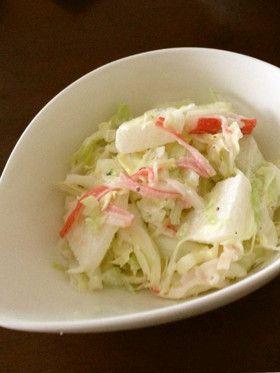 pear & cabbage salad 梨とキャベツ、カニカマのサラダ (cabbage, pear, crab sticks)