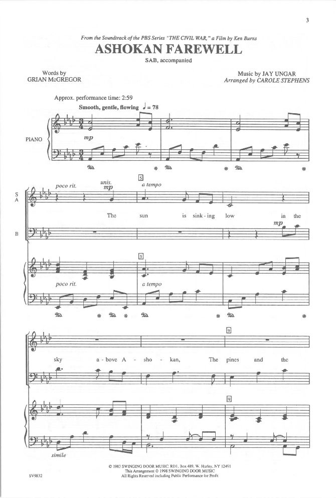 Ashokan Farewell (SAB) by Grian McGregor & | J.W. Pepper Sheet Music
