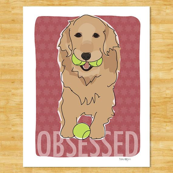 Golden Retriever Print Modern Dog Art  Obsessed by PopDoggie, $18.00