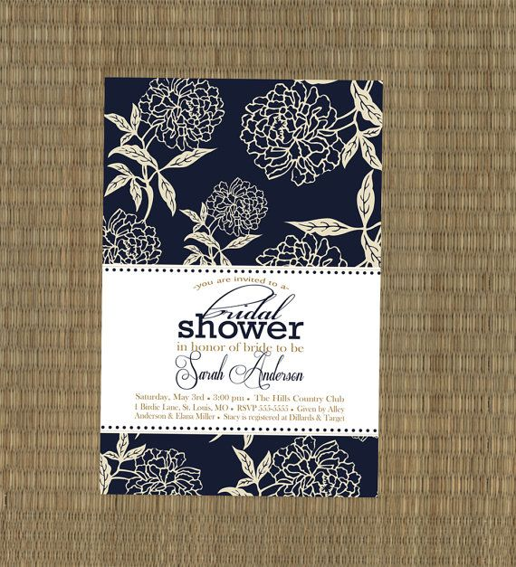 Bridal Shower Invitation- Navy Blue and Tan Peony Wedding Shower ...