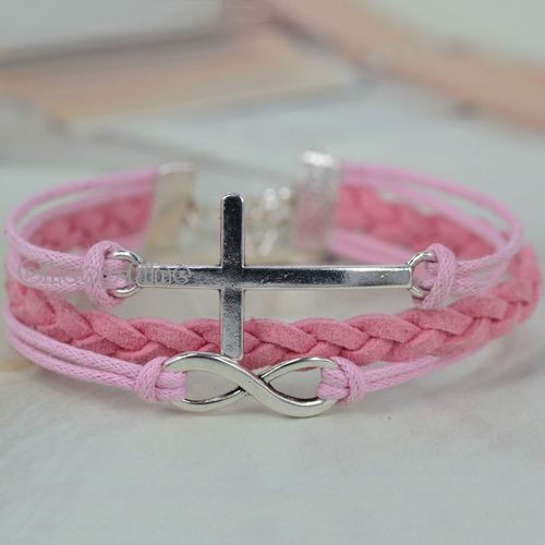 1x Beautiful Pink Weave Korean Cashmere Silver Tone Infinity Cross DIY Bracelet   eBay