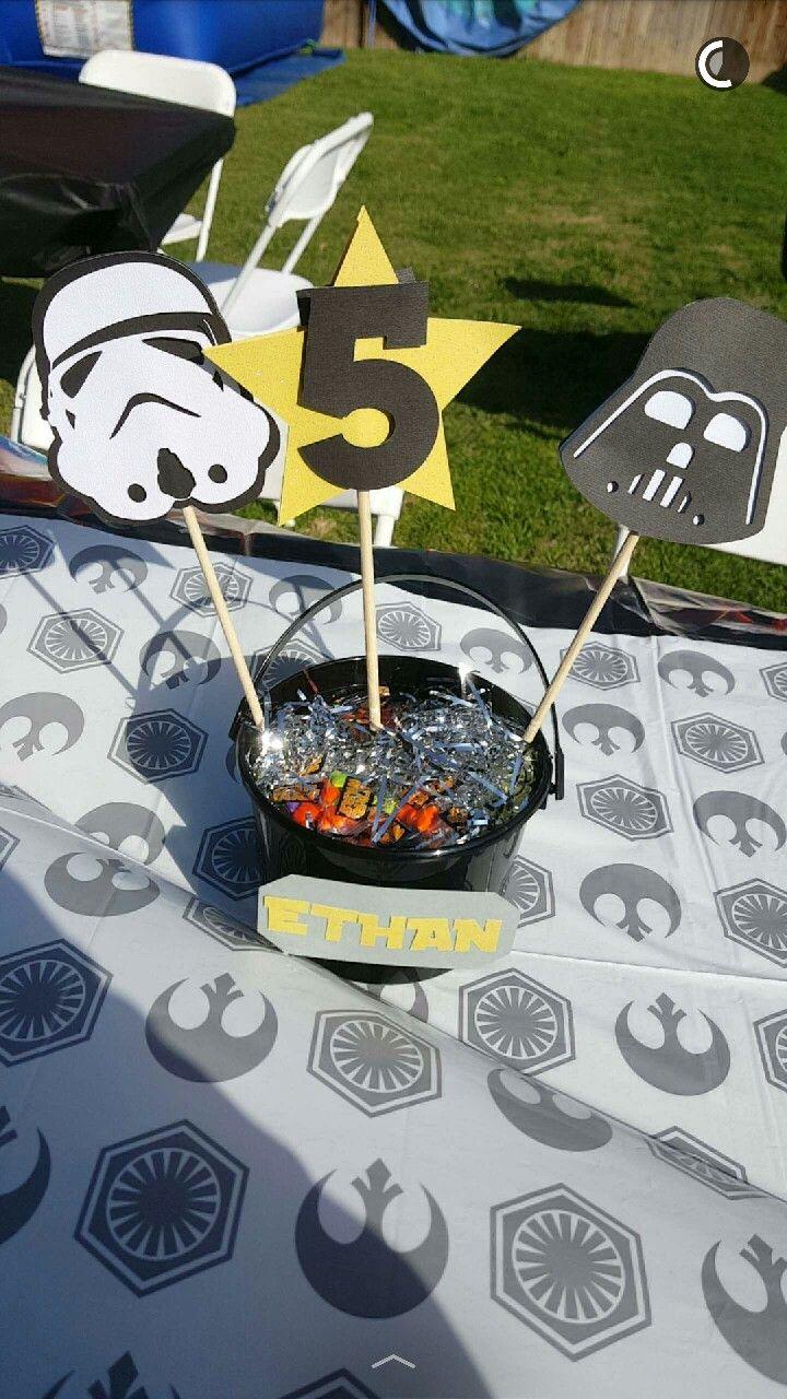 Star Wars birthday party centerpieces easy diy Darth Vader stormtrooper
