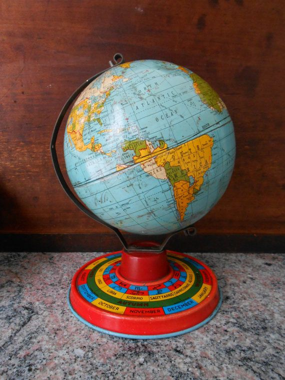 808 best globes of all kinds images on Pinterest   Map globe  Globes     Tin Litho World Globe with Zodiac Base World Map Toy