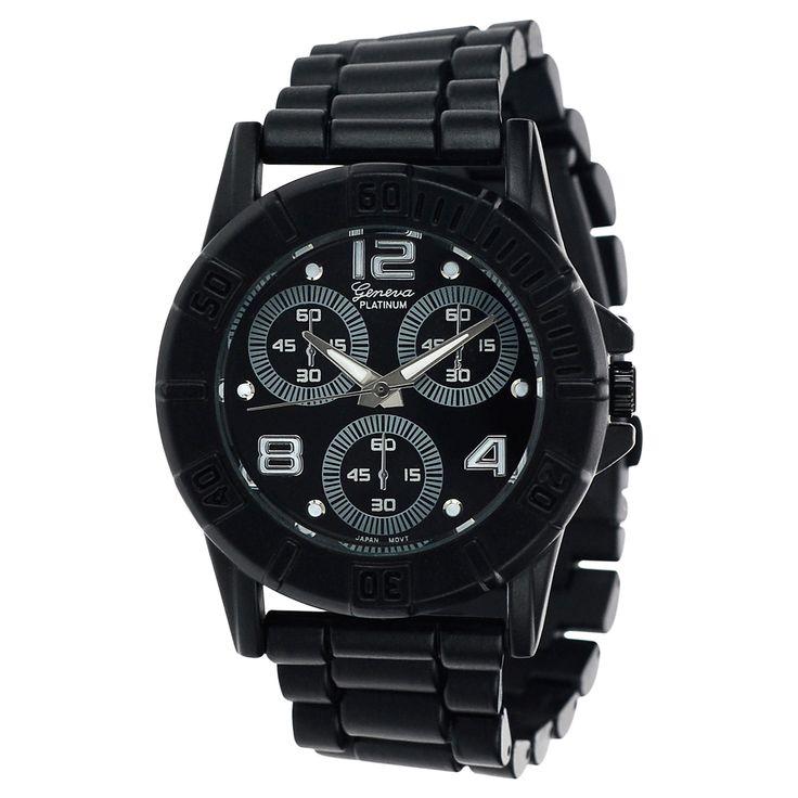 Women's Geneva Platinum Metal Link Bracelet Watch - Black