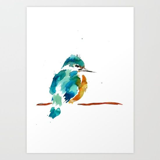 Golden Kingfisher Art Print by Art By Chrissy Taylor - $22.00