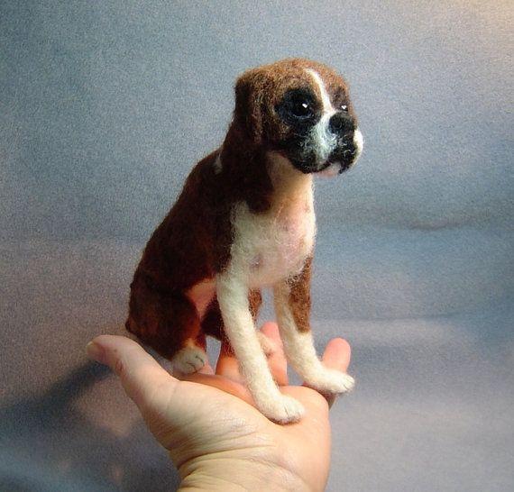 Aangepaste huisdier portret naald vilten Boxer Hond soft sculpture gedenkteken kunst dier