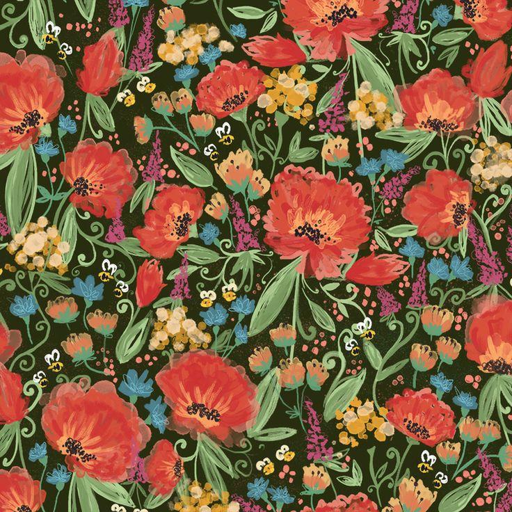 Honey Bee Garden in Dark Colorway by Joy Laforme #fabric #textiles #fabricbytheyard #floral