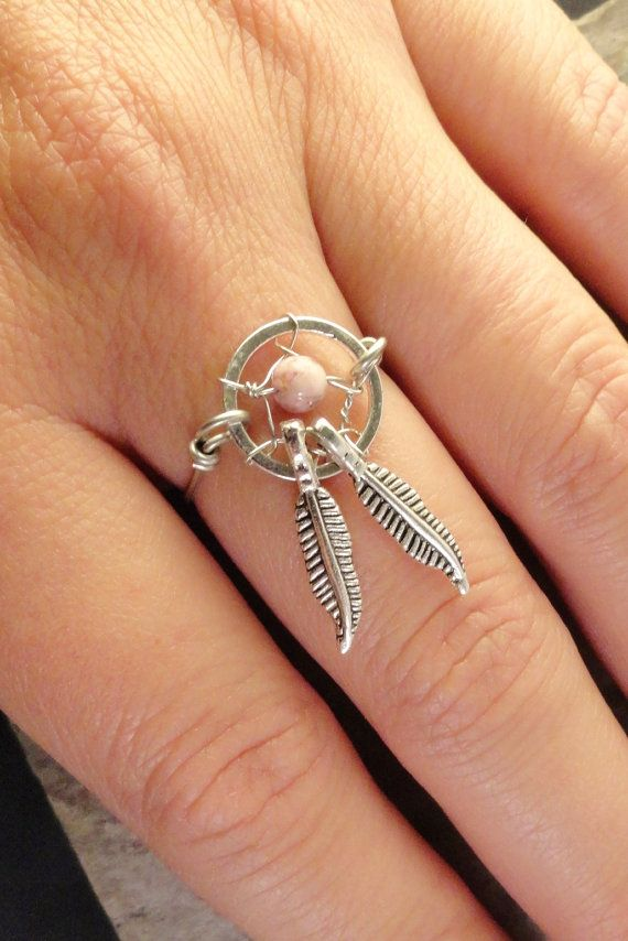 Pink Stone Dream Catcher Ring Wire Wrapped by MidnightsMojo, $15.00