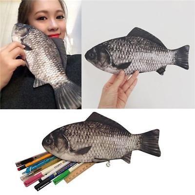 Crucian Carp Student's Pen Bag Simulated Fish Pencil Case Pouch Coin Purse JA