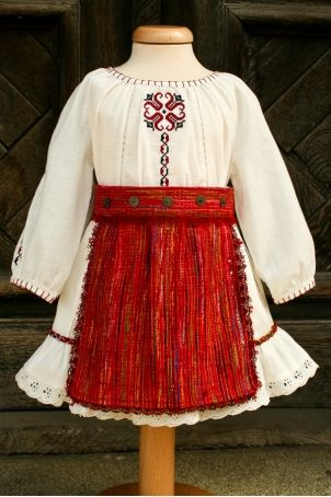 Christening traditional outfit from Romania, for baby and toddler girls.