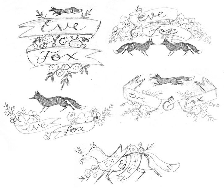 https://flic.kr/p/dHiMff | Eve & Fox sketches | Preliminary rough sketches for logo