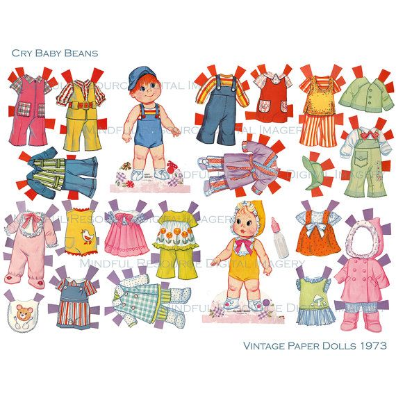 Vintage Baby Paper Dolls Cry Baby Beans by mindfulresource on Etsy