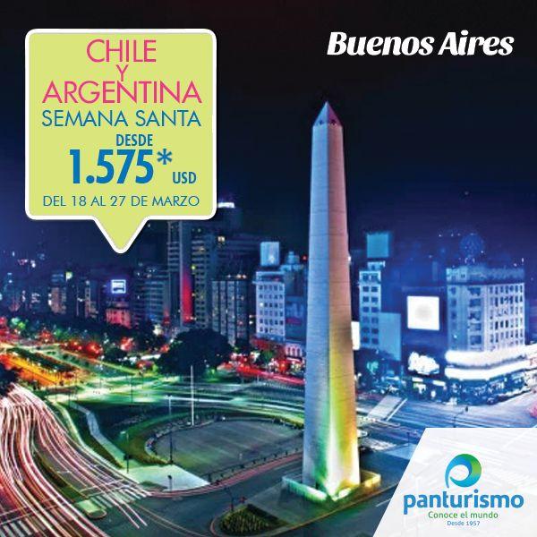 Prepárate para vivir la mejor experiencia en esta Semana Santa visitando los hermosos paisajes de Chile y Argentina. Para más información llámanos en Cali al 668 2255 y en Bogotá al 606 9779. www.panturismo.com