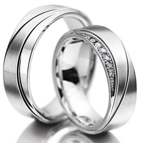 Snubní prsteny z chirurgické oceli doplněné zirkonem