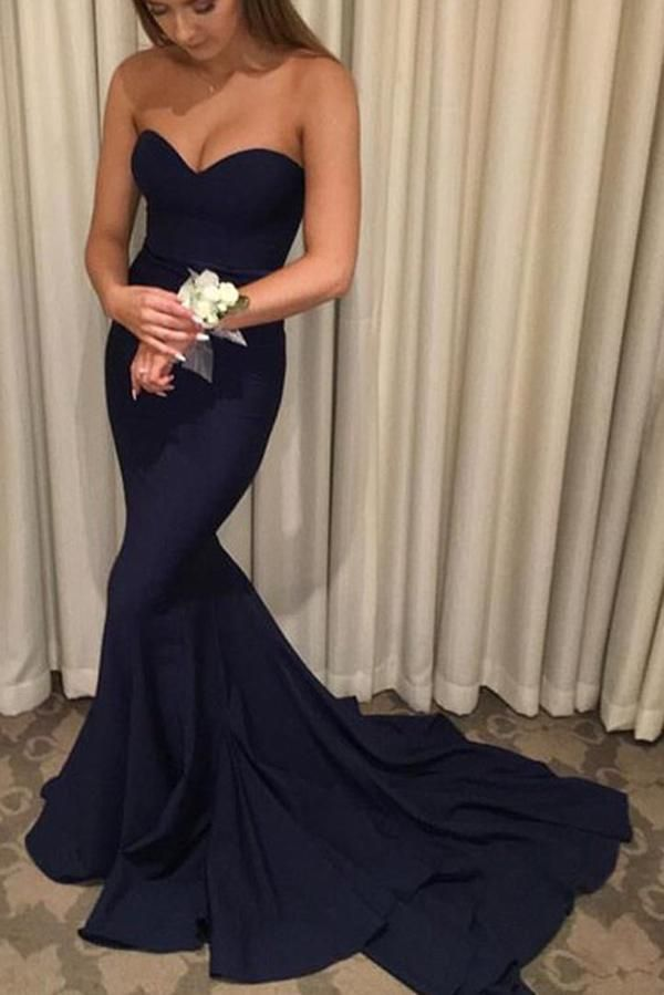 Navy Blue Mermaid Off Shoulder Long Prom Dresses With Sweep Train
