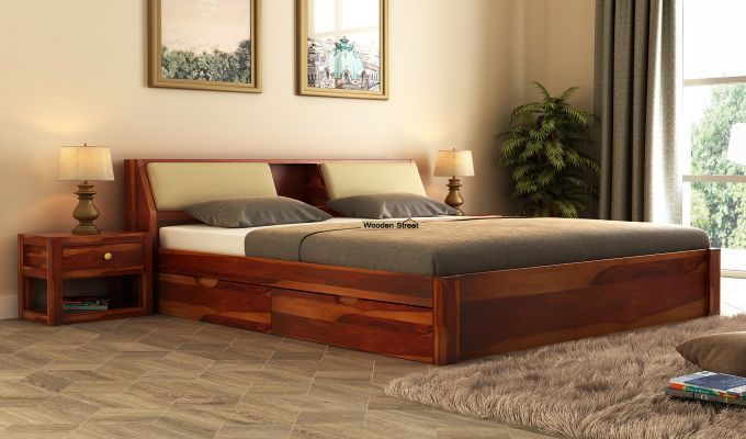 Buy Walken Bed With Storage King Size Honey Finish Online In
