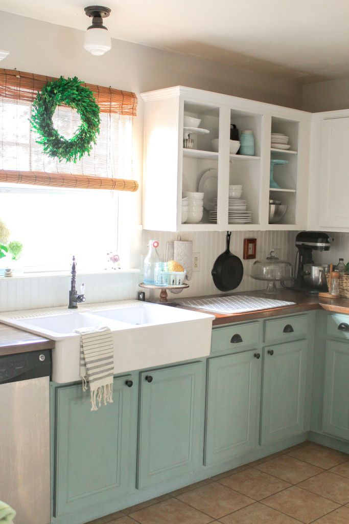 Chalk Painted Kitchen Cabinets~~This...I want this look!  open cupboards, beadboard back splash, farm sink and butcher block countertops.  Dreamy!!!