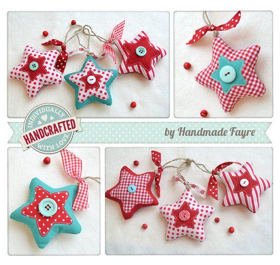 Mix of Christmas Stars SPOT STRIPE GINGHAM by handmadefayre