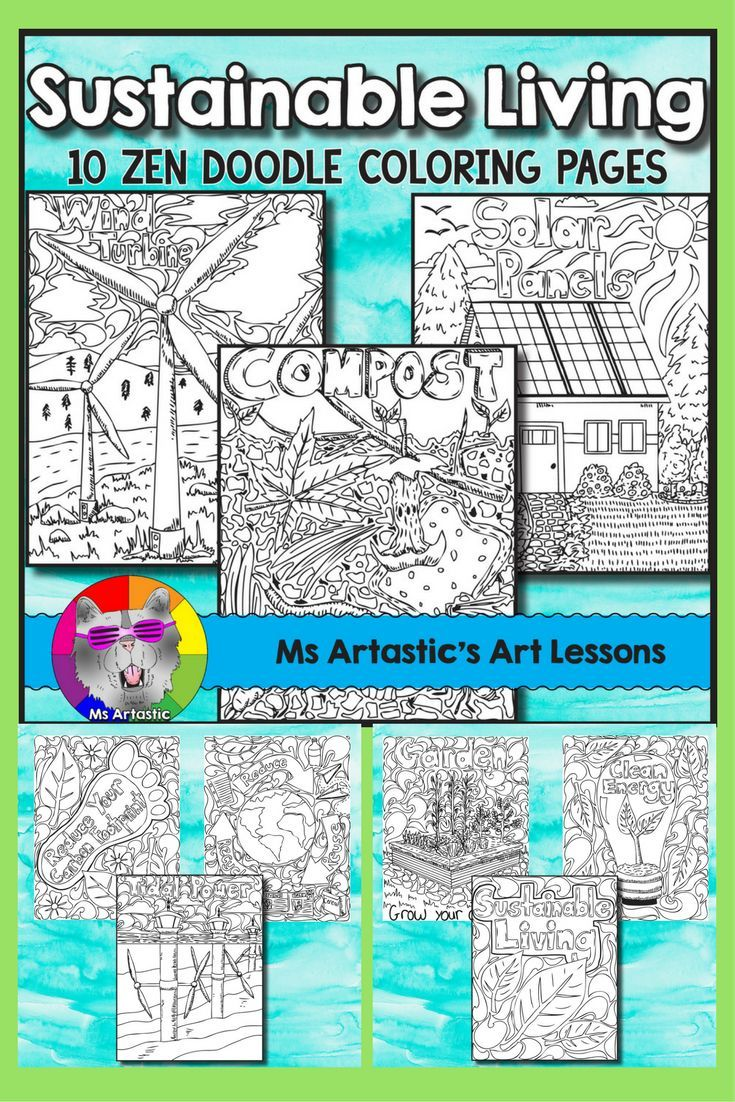 Celebrate and appreciate our Earth and promote sustainability with 10 zentangle coloring sheets that promote clean energy, reducing our carbon foot print, recycling and sustainable living.All 10 pages are hand drawn by Ms Artastic with love. These colorin